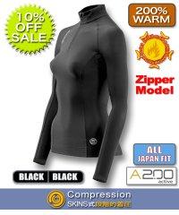 A200ウィメンズサーマルロングスリーブトップモックネック(Zipper) Black【10%OFF】