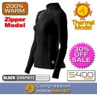 【期間限定30%OFF】S400ウィメンズサーマルロングスリーブトップモックネック(Zipper) Black/Graphite/White