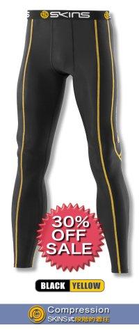 *30%OFF*SPORTロングタイツ black/yellow